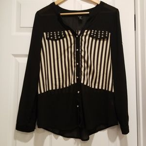 Windsor Black Chiffon and Tan Striped Top Size S